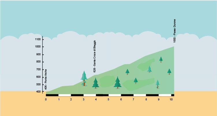 altimetria della salita al passo del Durone