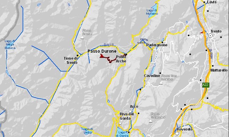 mappa della salita al passo Duron in Trentino