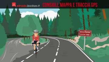 ciclista al termine della salita del passo del Duron