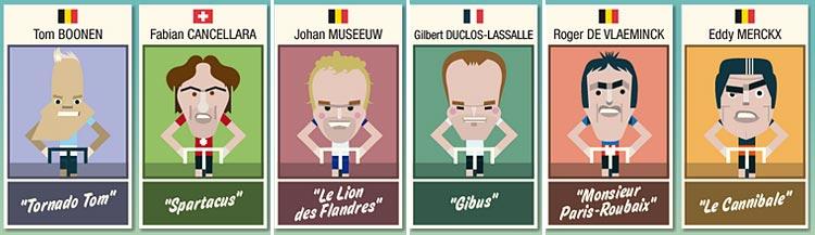 caricature protagonisti storia parigi roubaix