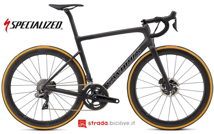 Foto della bici da corsa Specialized S-Works Tarmac SL6 Disc con freni a disco e misuratore di potenza