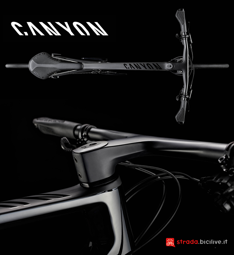 Il manubrio in carbonio integrato cockpit CF della bicicletta da fitness Canyon Roadlite CF