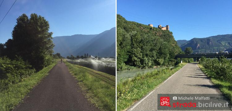 tratti della ciclabile lungo la valle dell'Adige e Castel Firmiano