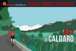 ciclista pedala vicino al lago di Caldaro
