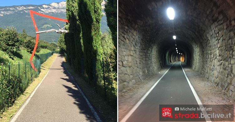 manto stradale e gallerie lungo la ciclabile dell'Adige