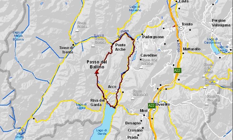 mappa del giro in bicicletta del passo Ballino