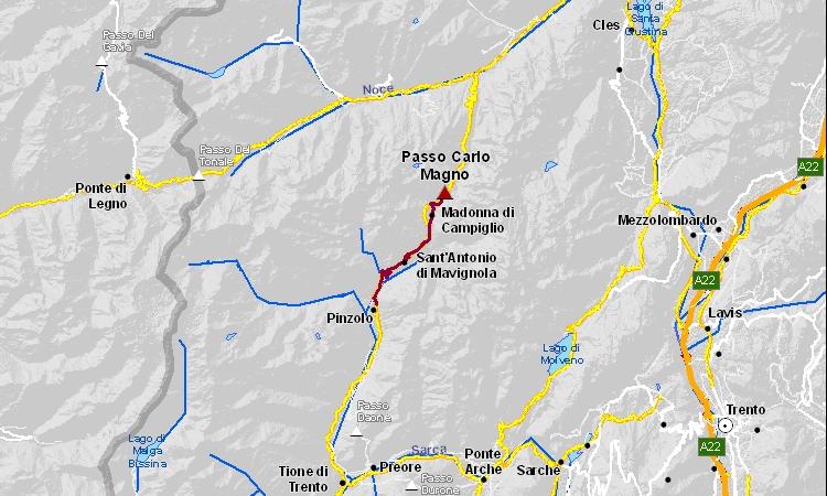 mappa della salita da Pinzolo a Madonna di Campiglio