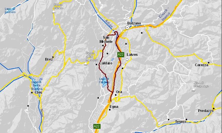 mappa dell'itinerario cicloturistico lungo la valle dell'Adige