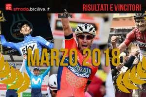 Nibali e altri vincitori delle gare di ciclismo di marzo 2018