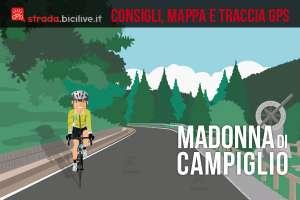 ciclista impegnato nella salita da Pinzolo a Madonna di Campiglio