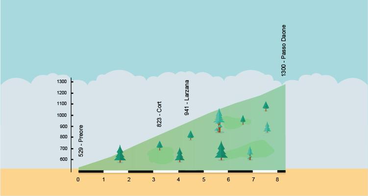 altimetria della salita al passo Daone da Preore