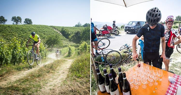 ciclista e degustazione di vino e prodotti tipici