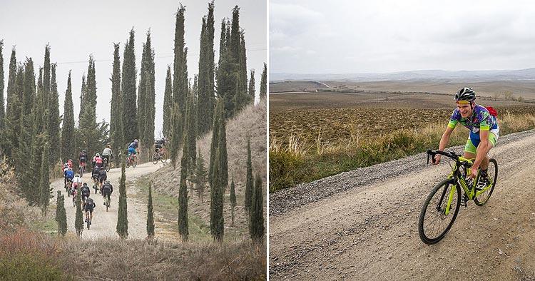 ciclisti nella tappa Nova Eroica del Gravel Road Series