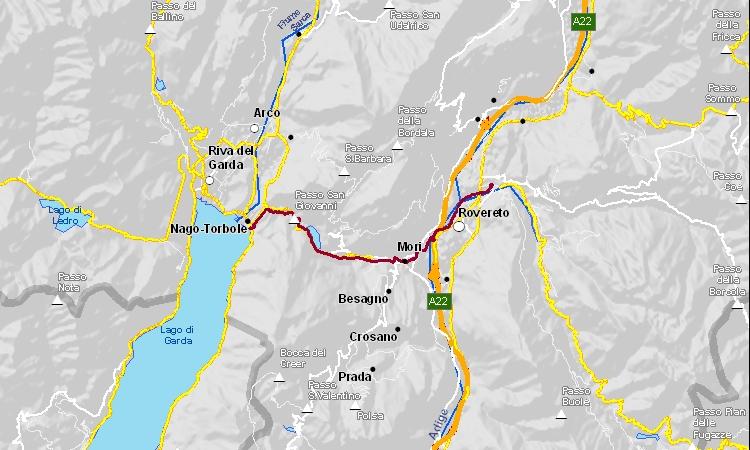 mappa della ciclabile tra Torbole e Rovereto