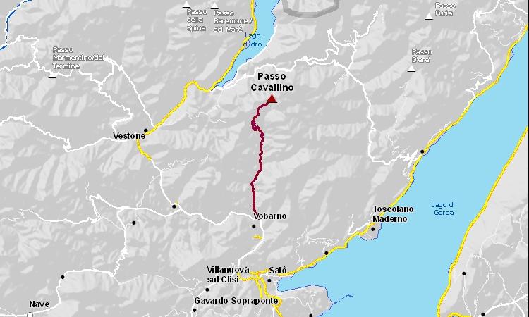 mappa dell'itinerario da Vobarno al passo Cavallino