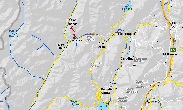 mappa della salita al Passo Daone in Trentino