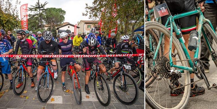 ciclisti alla partenza del Gravel Road Series e bici gravel