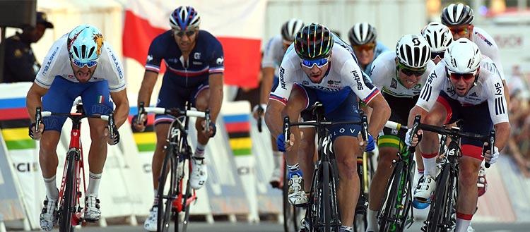 Peter Sagna sprinta ai campionati del mondo