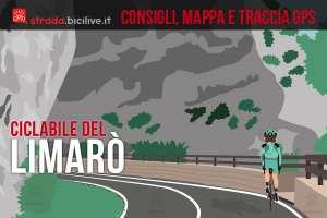 ciclista su un tratto panoramico della ciclabile del Limarò
