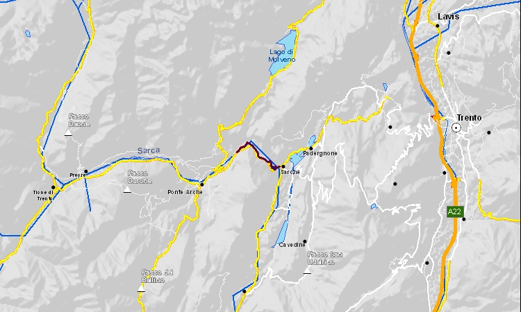 mappa del percorso della ciclabile di Limarò