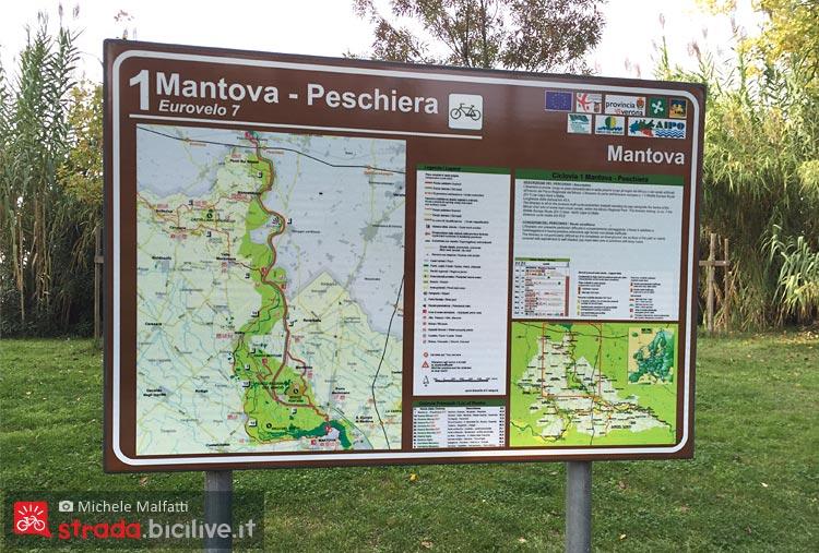 segnaletica sulla pista ciclabile tra Peschiera e Mantova