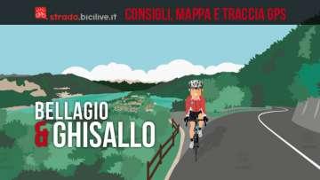 ciclista nella salita del Ghisallo con vista su Bellagio