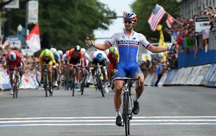 foto di Peter Sagan e la prima vittoria al mondiale di Richmond.
