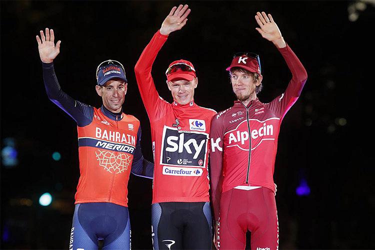 podio della scorsa Vuelta con Froome e Nibali