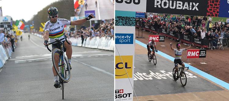 foto della vittoria alle Fiandre e alla Roubaix di Sagan