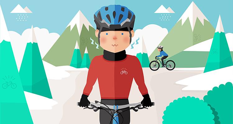ciclista va piano per la scusa del troppo freddo