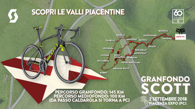 Granfondo Scott Piacenza 2018 tracciati e percorsi