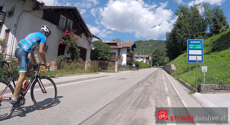 inizio della salita in bici al passo Duran