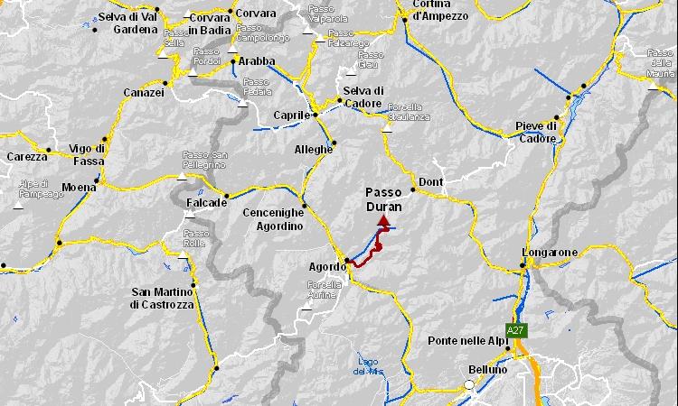 mappa dell'itinerario del Duran da Agordo