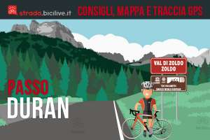 ciclista al passo Duran vicino al cartello delle Dolomiti