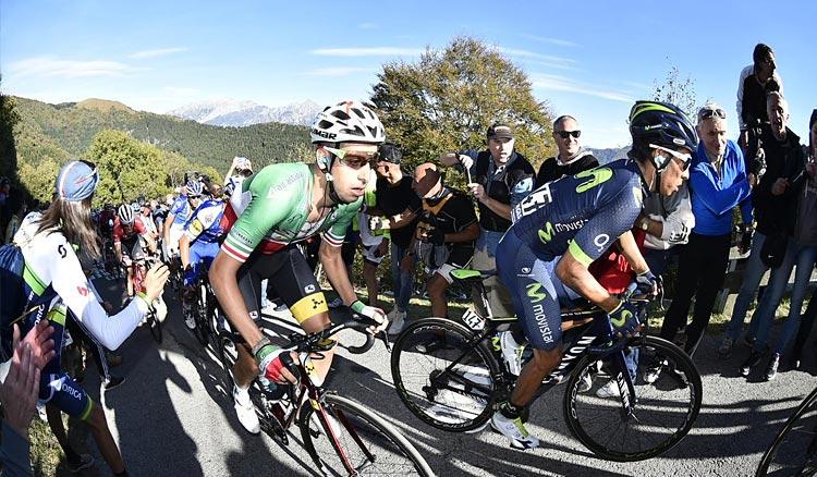 Fabio Aru e Quintana sul muro di Sormano