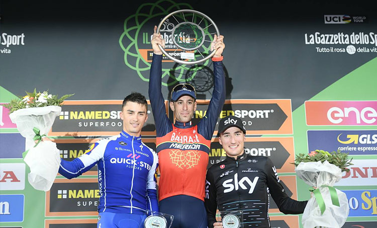 il podio del Giro di Lombadia con Nibali, Alaphilippe e Moscon
