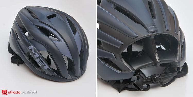 fronte e retro del casco da strada Met Trenta