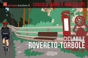 ciclista sulla ciclabile tra Rovereto e Torbole sul Garda