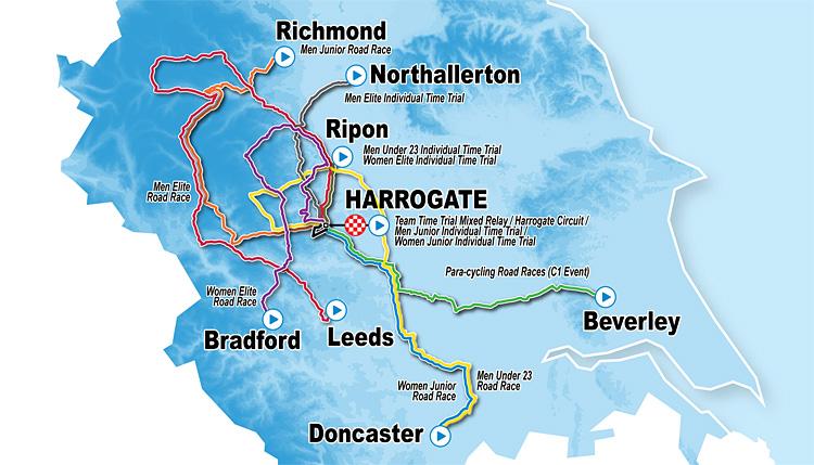 mappa delle città dello Yorkshire dei mondiali UCI 2019