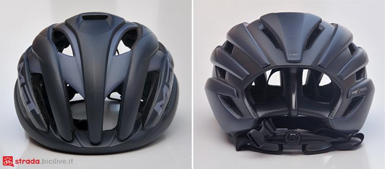 fronte e retro del casco MET Trenta