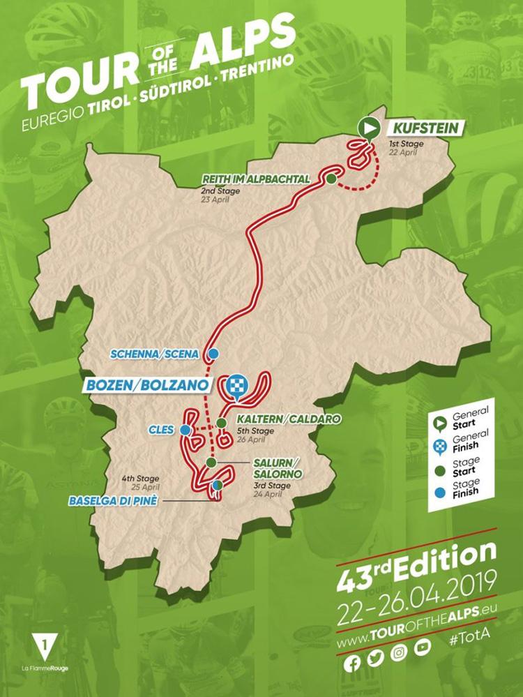 Mappa del Tour of the Alps 2019