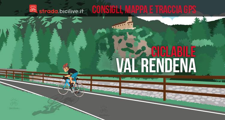 ciclista sulla pista ciclabile della Valrendena in Trentino