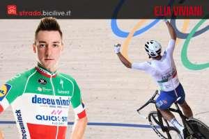 Elia Viviani con la maglia di campione italiano e alle olimpiadi