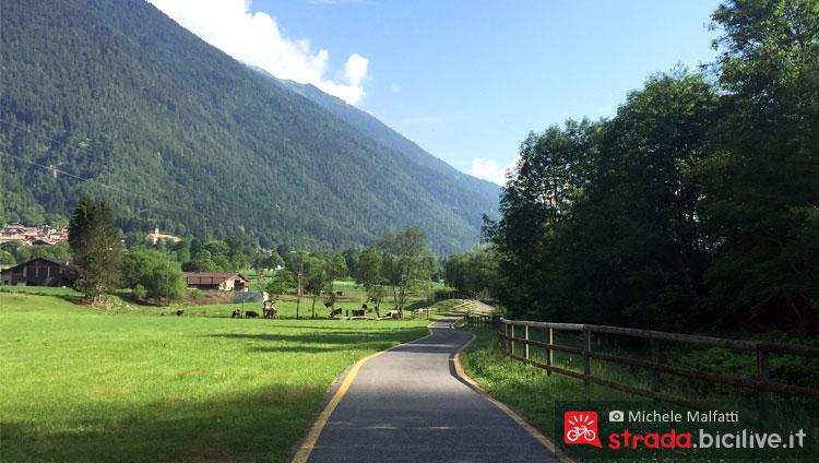 Panorama della ciclabile della Valrendena in Trentino