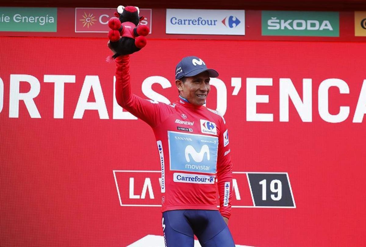 Nairo Quintana in maglia rossa alla Vuelta 2019