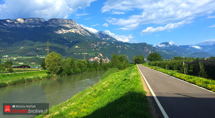strada ciclabile direzione Merano Val d'Adige bici 2019