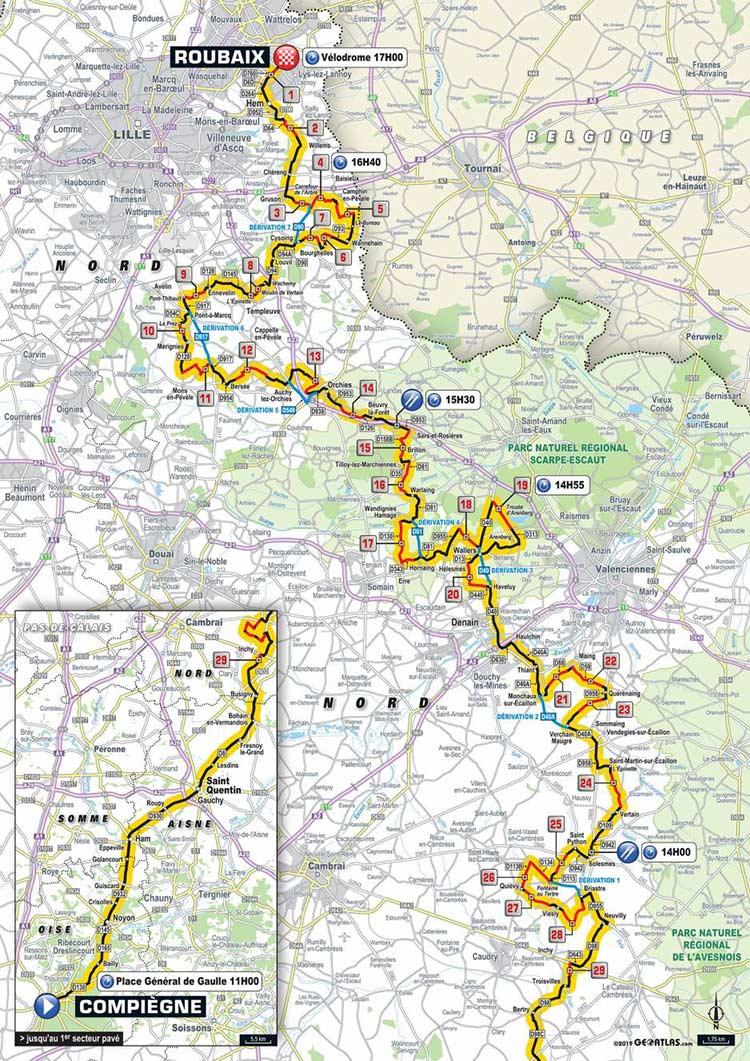 Percorso Parigi-Roubaix 2019