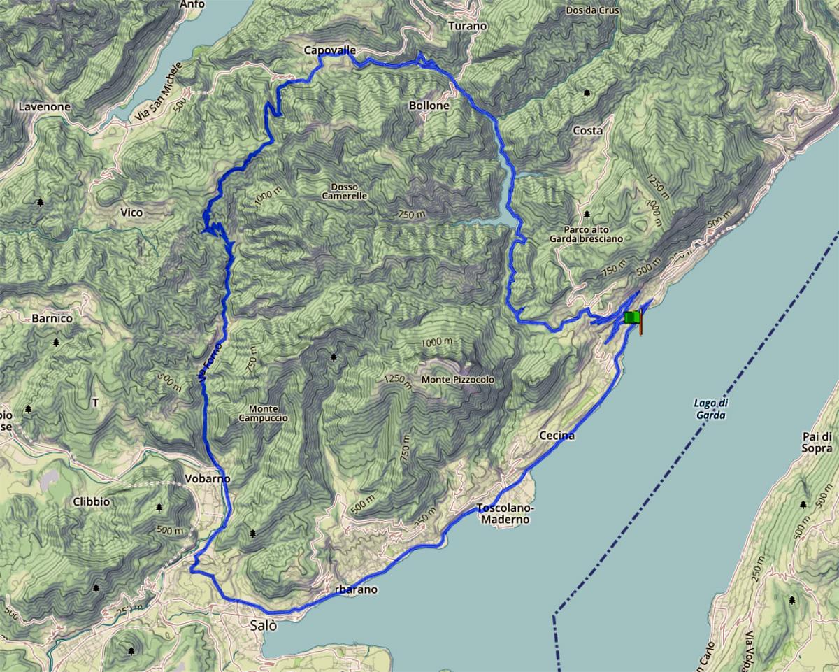 La cartina col Giro dei due laghi