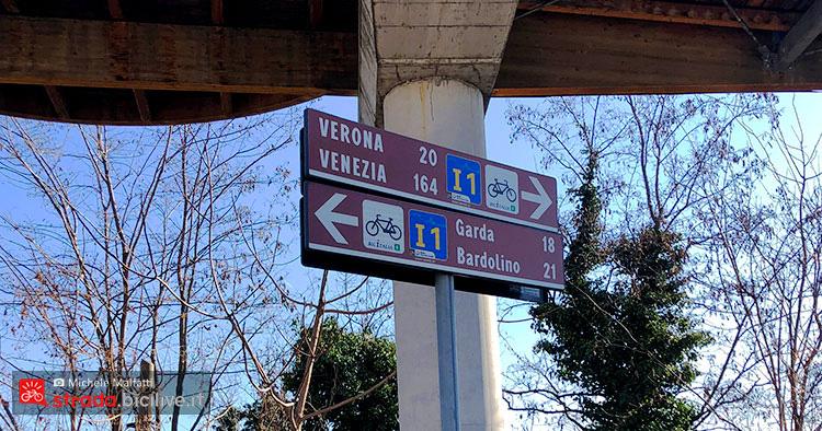 cartello giro dal lago di Garda a Verona