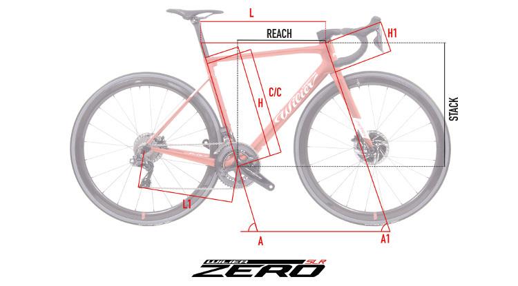 Il grafico delle geometrie del telaio Wilier Triestina SLR Zero